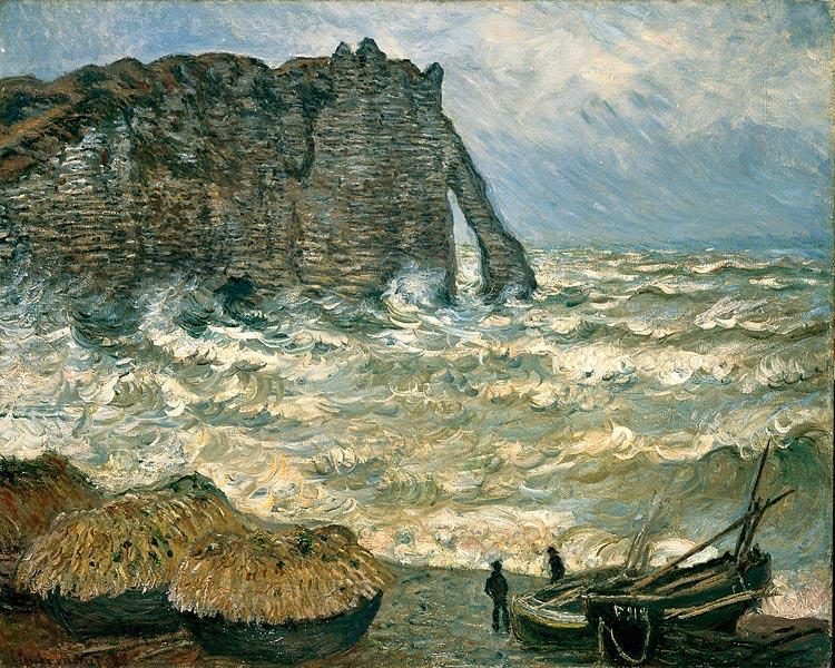 Claude Monet Agitated Sea at Etretat
